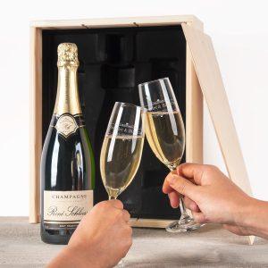 Champagnepakket met gegraveerde glazen - René Schloesser (750ml)